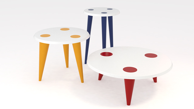 Lacquered table top version with dots...