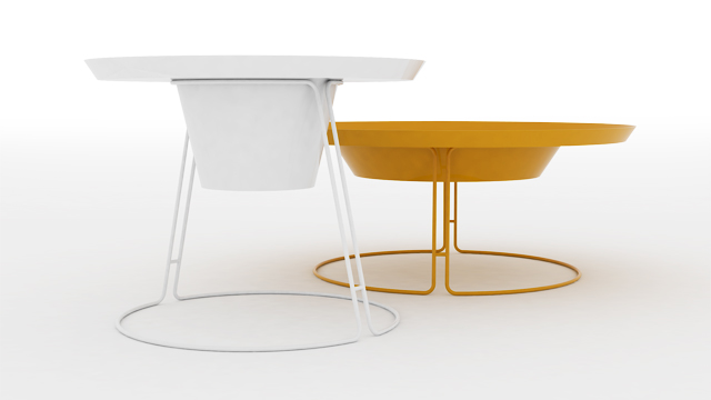 2 coffee tables in white and yellow